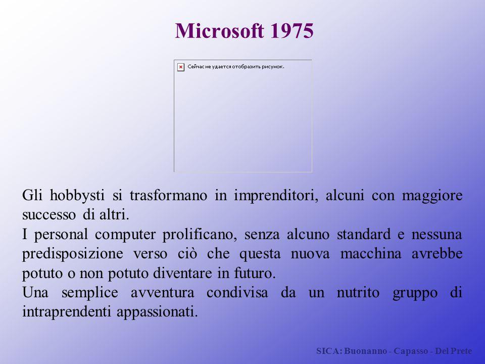 SICA: Buonanno - Capasso - Del Prete Microsoft 1975 Gli hobbysti si trasformano in imprenditori, alcuni con maggiore successo di altri. I personal com