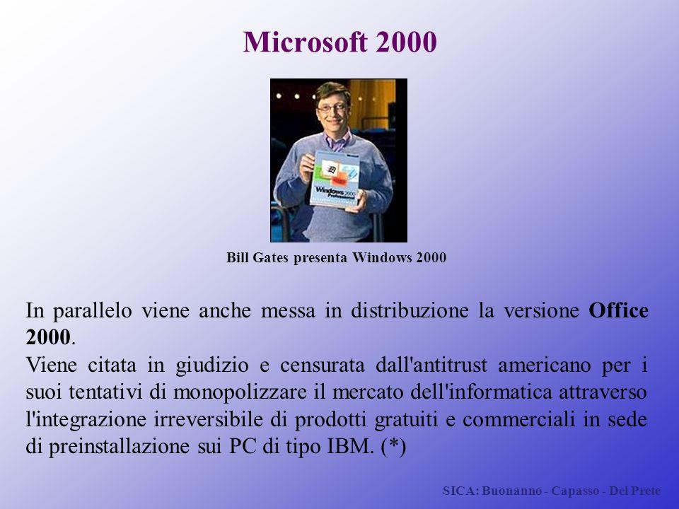 SICA: Buonanno - Capasso - Del Prete Microsoft 2000 In parallelo viene anche messa in distribuzione la versione Office 2000. Viene citata in giudizio