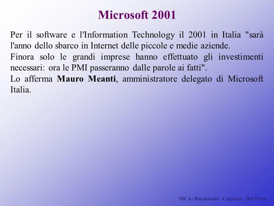 SICA: Buonanno - Capasso - Del Prete Microsoft 2001 Per il software e l'Information Technology il 2001 in Italia