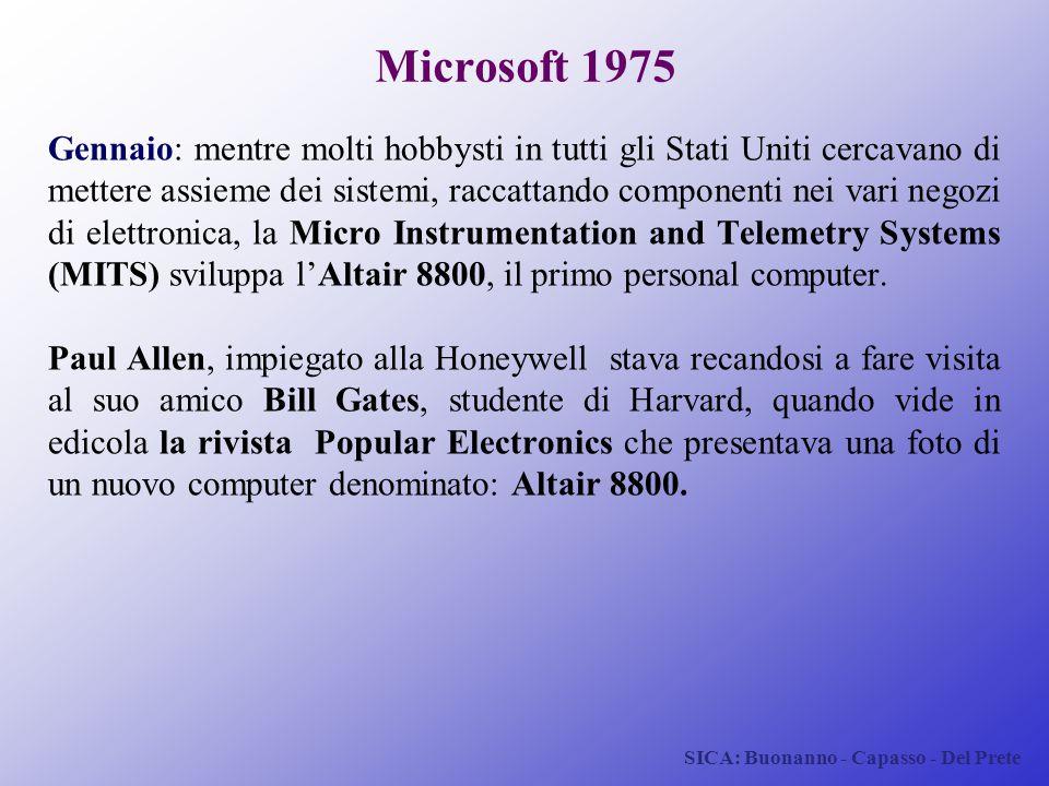 SICA: Buonanno - Capasso - Del Prete Microsoft 1975 Gennaio: mentre molti hobbysti in tutti gli Stati Uniti cercavano di mettere assieme dei sistemi,