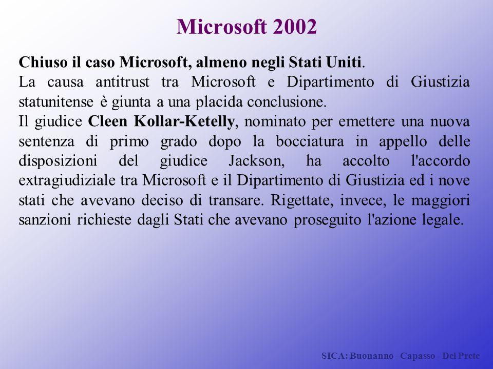 SICA: Buonanno - Capasso - Del Prete Microsoft 2002 Chiuso il caso Microsoft, almeno negli Stati Uniti. La causa antitrust tra Microsoft e Dipartiment