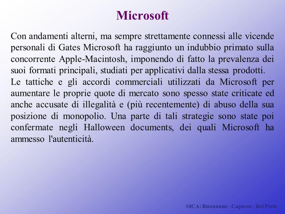 SICA: Buonanno - Capasso - Del Prete Microsoft Con andamenti alterni, ma sempre strettamente connessi alle vicende personali di Gates Microsoft ha rag