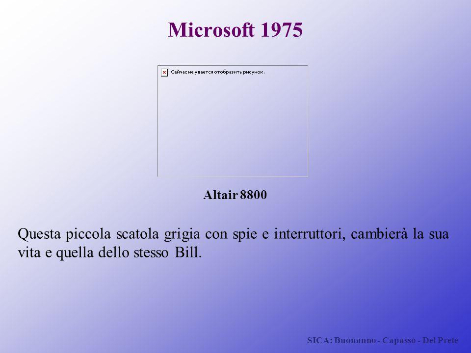 SICA: Buonanno - Capasso - Del Prete Microsoft 1975 Questa piccola scatola grigia con spie e interruttori, cambierà la sua vita e quella dello stesso