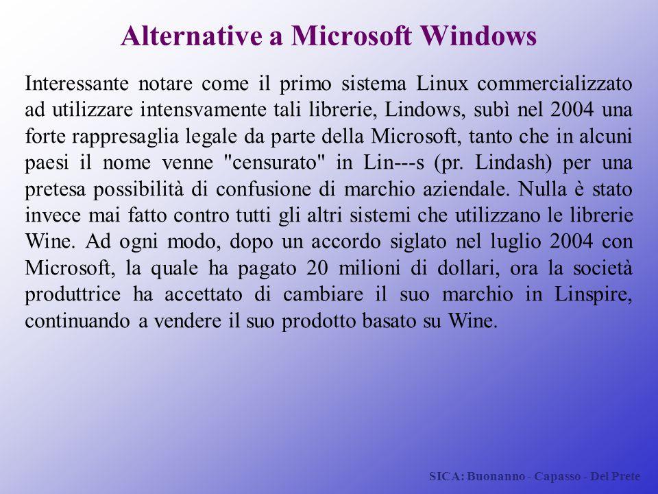 SICA: Buonanno - Capasso - Del Prete Alternative a Microsoft Windows Interessante notare come il primo sistema Linux commercializzato ad utilizzare in