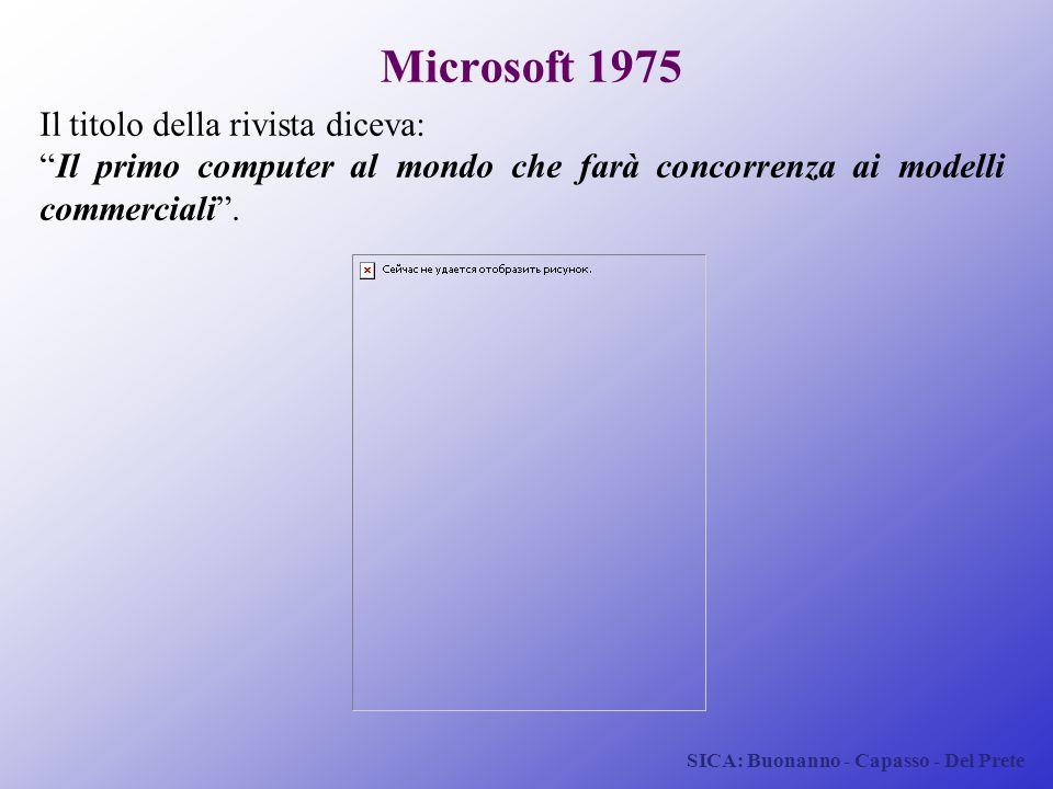 """SICA: Buonanno - Capasso - Del Prete Microsoft 1975 Il titolo della rivista diceva: """"Il primo computer al mondo che farà concorrenza ai modelli commer"""
