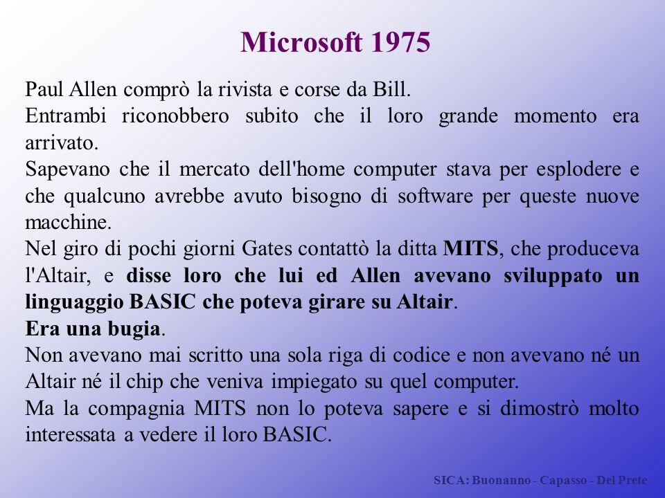 SICA: Buonanno - Capasso - Del Prete Microsoft 1975 Paul Allen comprò la rivista e corse da Bill. Entrambi riconobbero subito che il loro grande momen