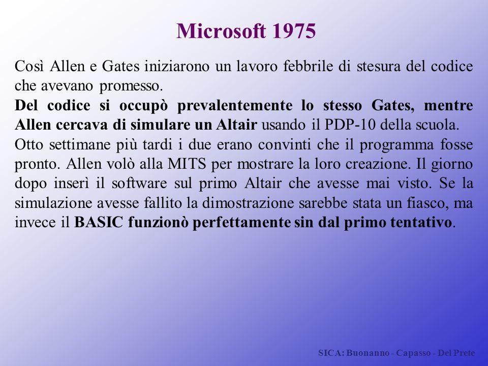 SICA: Buonanno - Capasso - Del Prete Microsoft 1975 Così Allen e Gates iniziarono un lavoro febbrile di stesura del codice che avevano promesso. Del c