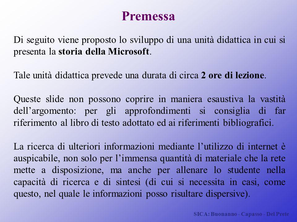 SICA: Buonanno - Capasso - Del Prete Di seguito viene proposto lo sviluppo di una unità didattica in cui si presenta la storia della Microsoft. Tale u