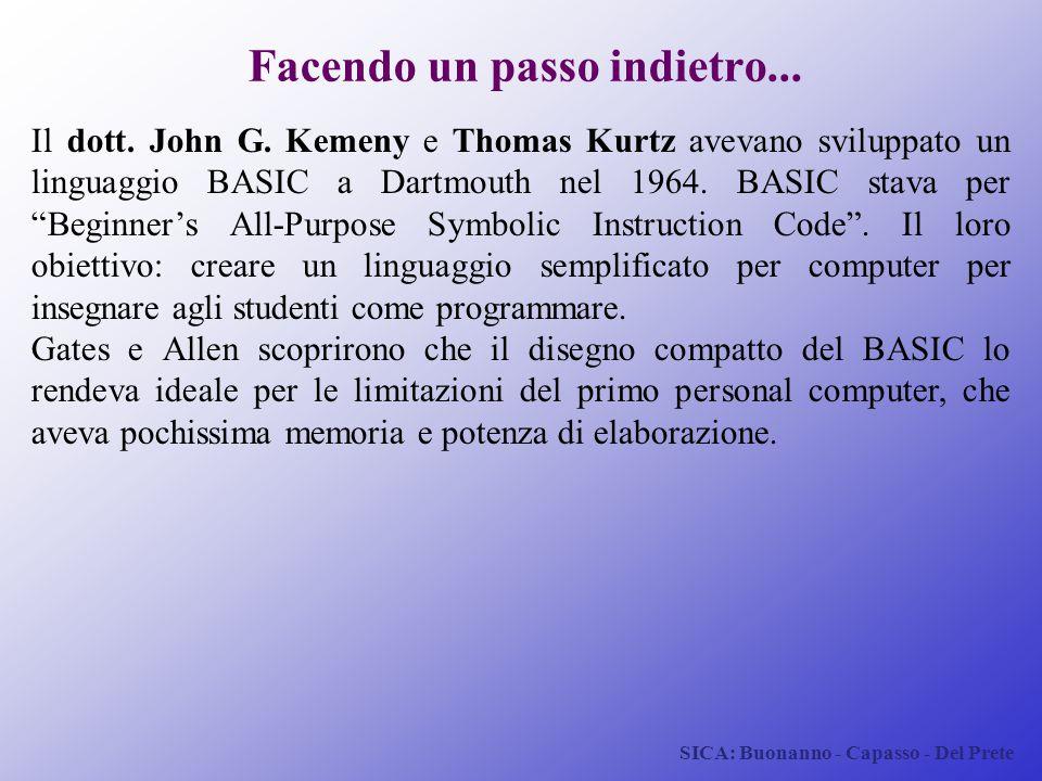 SICA: Buonanno - Capasso - Del Prete Facendo un passo indietro... Il dott. John G. Kemeny e Thomas Kurtz avevano sviluppato un linguaggio BASIC a Dart