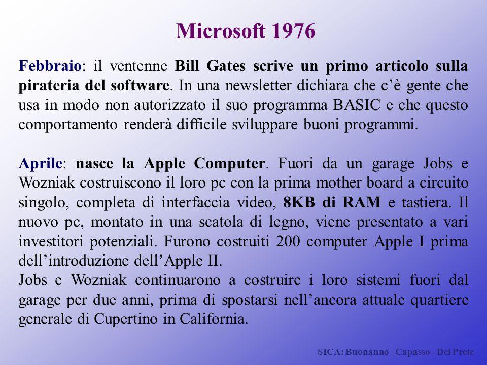 SICA: Buonanno - Capasso - Del Prete Microsoft 1976 Febbraio: il ventenne Bill Gates scrive un primo articolo sulla pirateria del software. In una new
