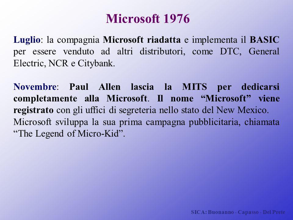 SICA: Buonanno - Capasso - Del Prete Microsoft 1976 Luglio: la compagnia Microsoft riadatta e implementa il BASIC per essere venduto ad altri distribu
