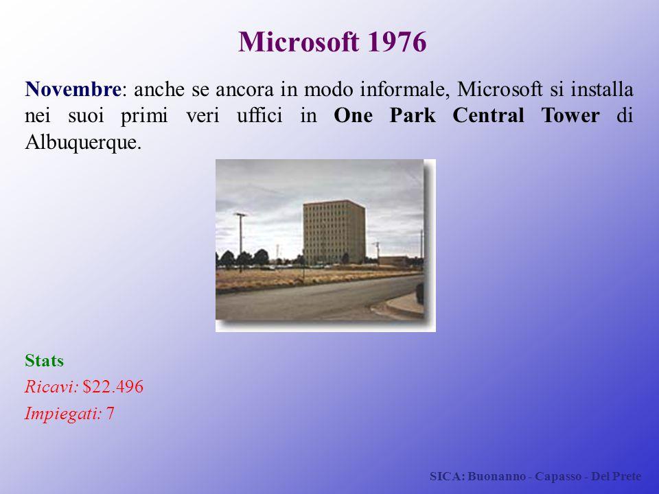 SICA: Buonanno - Capasso - Del Prete Microsoft 1976 Novembre: anche se ancora in modo informale, Microsoft si installa nei suoi primi veri uffici in O
