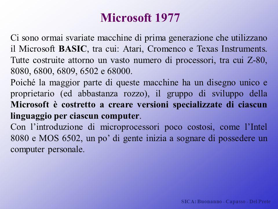 SICA: Buonanno - Capasso - Del Prete Microsoft 1977 Ci sono ormai svariate macchine di prima generazione che utilizzano il Microsoft BASIC, tra cui: A
