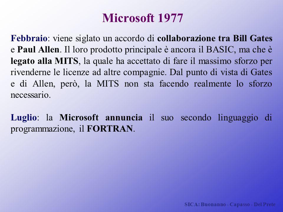 SICA: Buonanno - Capasso - Del Prete Microsoft 1977 Febbraio: viene siglato un accordo di collaborazione tra Bill Gates e Paul Allen. Il loro prodotto
