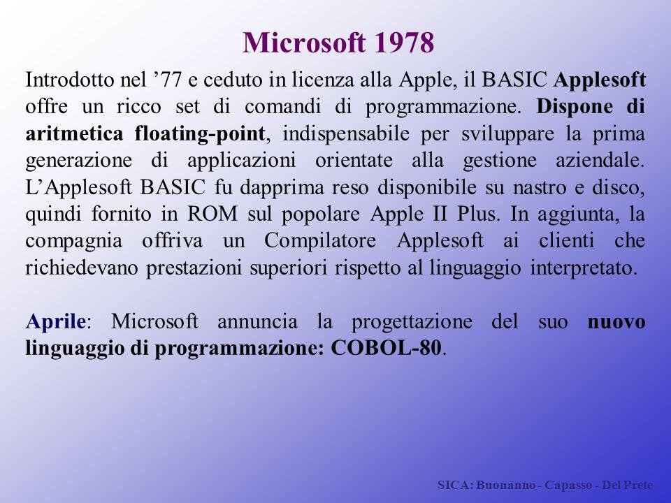 SICA: Buonanno - Capasso - Del Prete Microsoft 1978 Introdotto nel '77 e ceduto in licenza alla Apple, il BASIC Applesoft offre un ricco set di comand