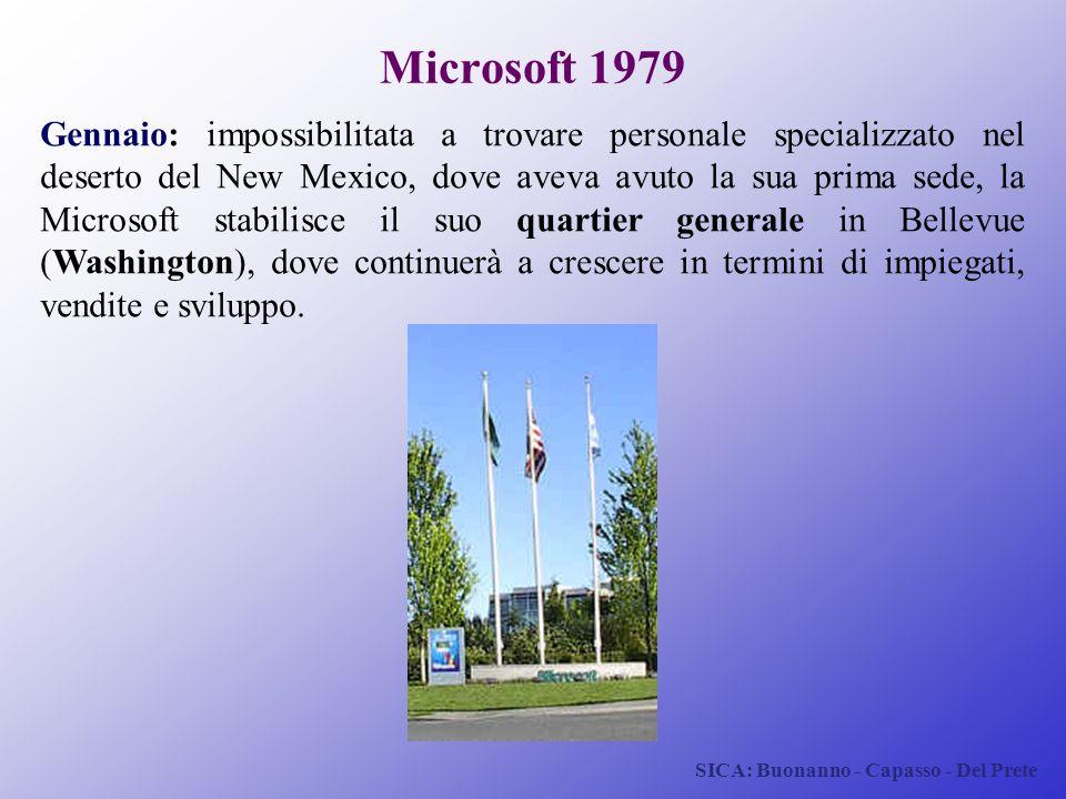 SICA: Buonanno - Capasso - Del Prete Microsoft 1979 Gennaio: impossibilitata a trovare personale specializzato nel deserto del New Mexico, dove aveva