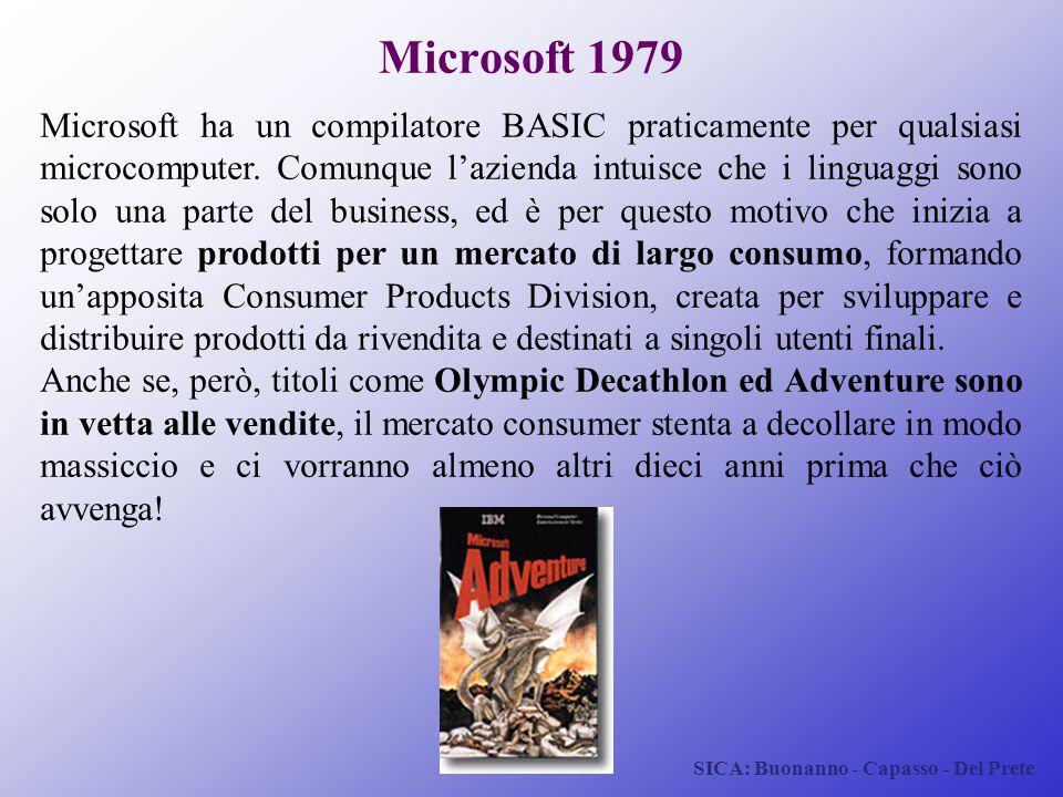 SICA: Buonanno - Capasso - Del Prete Microsoft 1979 Microsoft ha un compilatore BASIC praticamente per qualsiasi microcomputer. Comunque l'azienda int