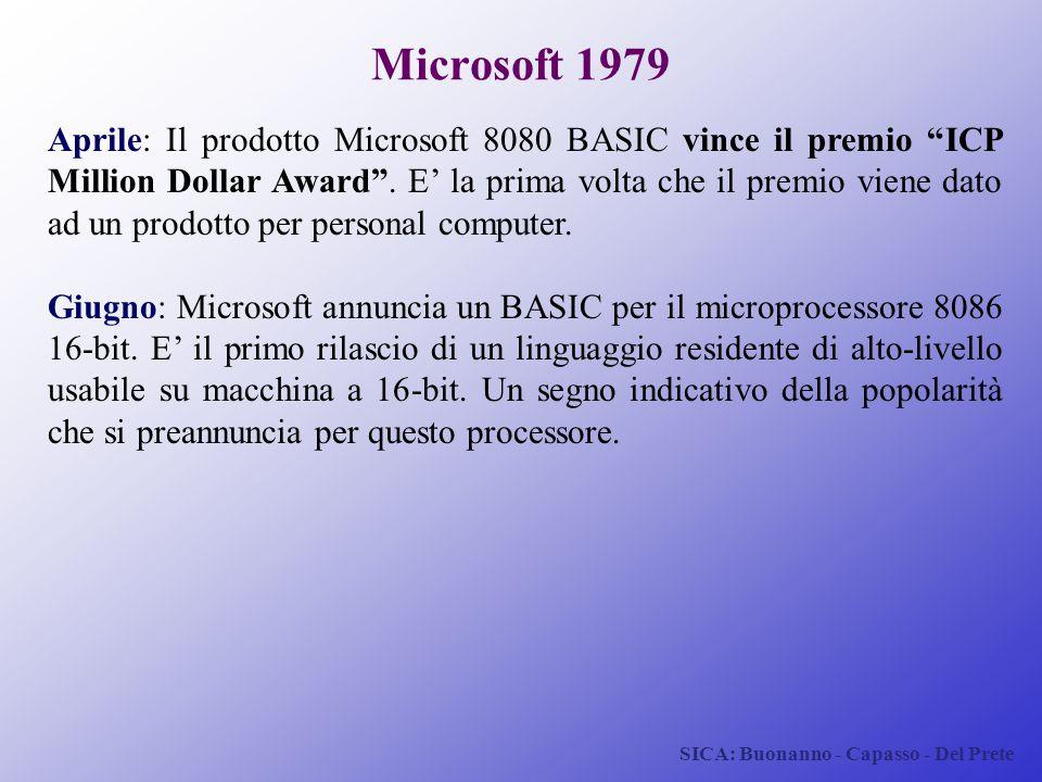 """SICA: Buonanno - Capasso - Del Prete Microsoft 1979 Aprile: Il prodotto Microsoft 8080 BASIC vince il premio """"ICP Million Dollar Award"""". E' la prima v"""