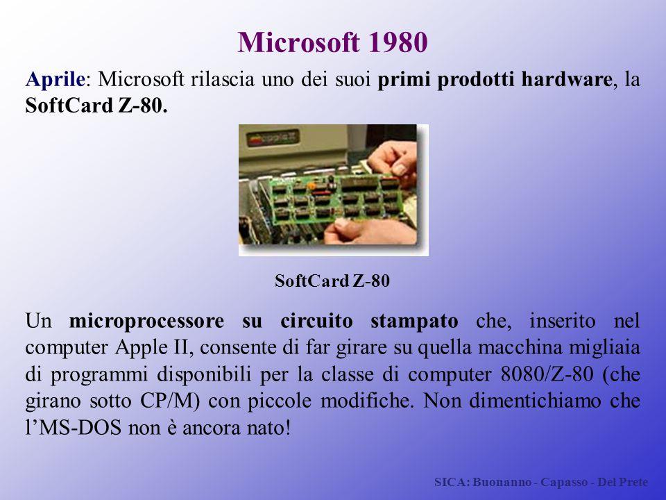 SICA: Buonanno - Capasso - Del Prete Microsoft 1980 Aprile: Microsoft rilascia uno dei suoi primi prodotti hardware, la SoftCard Z-80. SoftCard Z-80 U