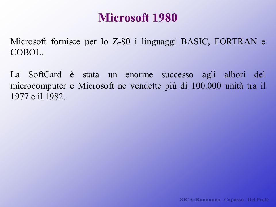 SICA: Buonanno - Capasso - Del Prete Microsoft 1980 Microsoft fornisce per lo Z-80 i linguaggi BASIC, FORTRAN e COBOL. La SoftCard è stata un enorme s