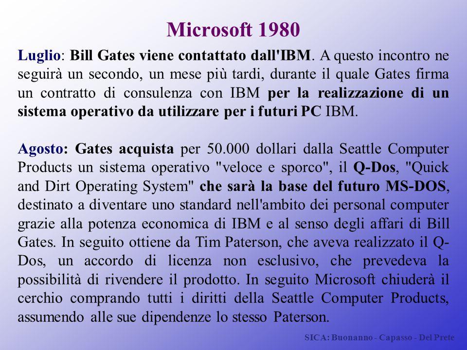 SICA: Buonanno - Capasso - Del Prete Microsoft 1980 Luglio: Bill Gates viene contattato dall'IBM. A questo incontro ne seguirà un secondo, un mese più
