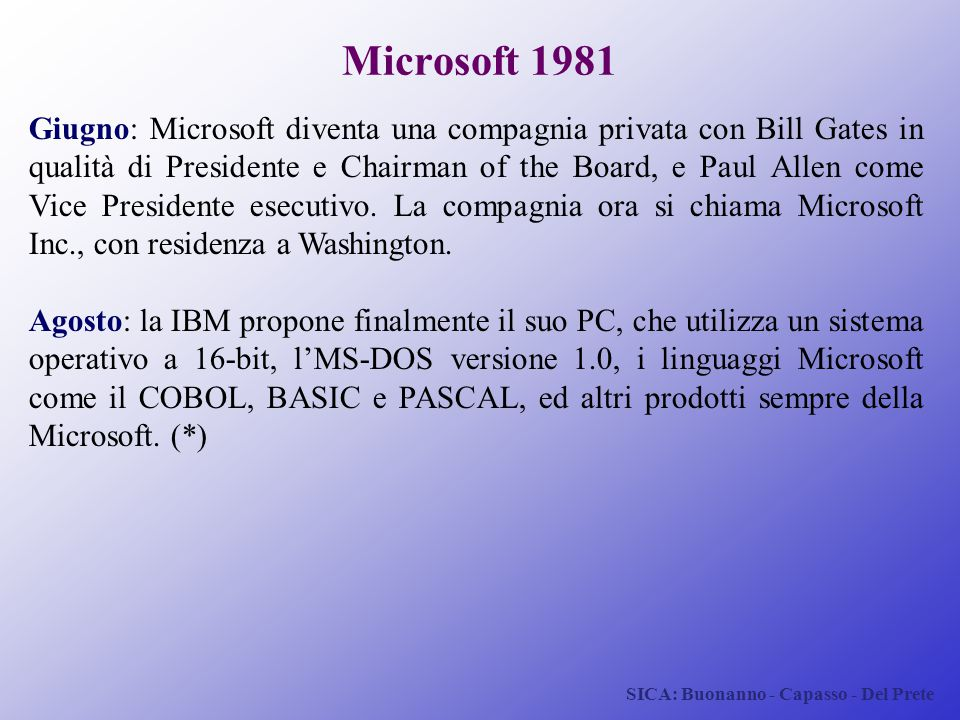 SICA: Buonanno - Capasso - Del Prete Microsoft 1981 Giugno: Microsoft diventa una compagnia privata con Bill Gates in qualità di Presidente e Chairman