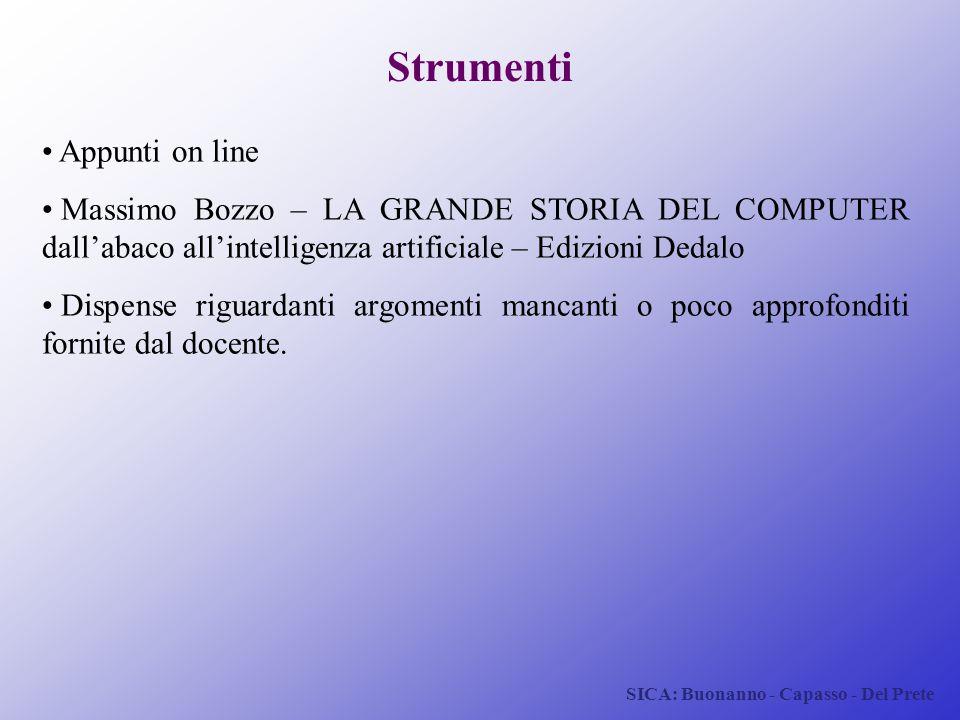 SICA: Buonanno - Capasso - Del Prete Appunti on line Massimo Bozzo – LA GRANDE STORIA DEL COMPUTER dall'abaco all'intelligenza artificiale – Edizioni
