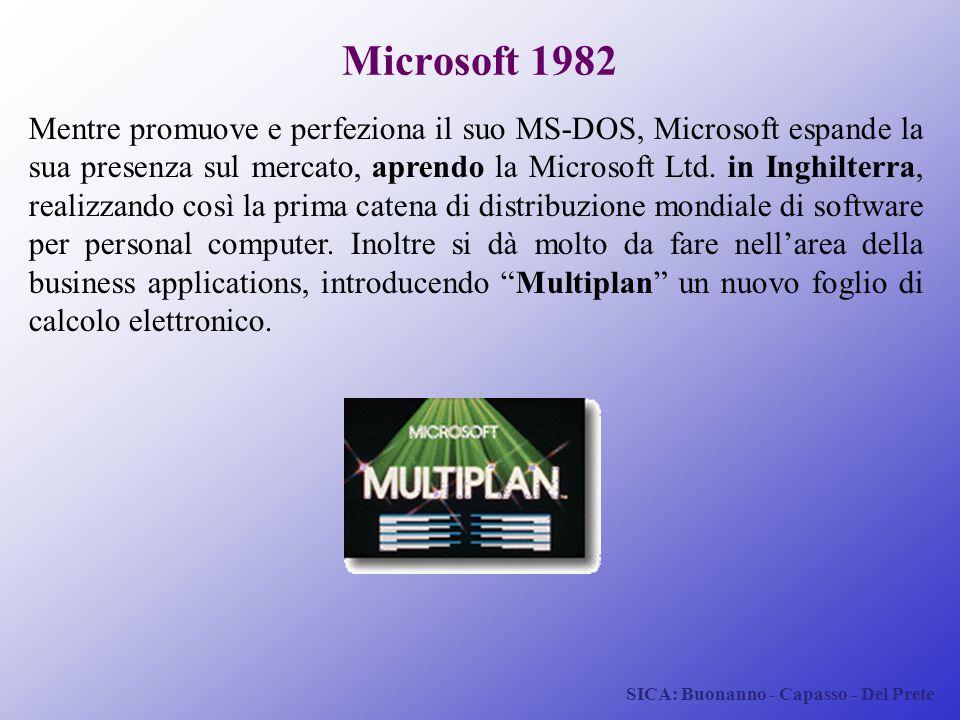 SICA: Buonanno - Capasso - Del Prete Microsoft 1982 Mentre promuove e perfeziona il suo MS-DOS, Microsoft espande la sua presenza sul mercato, aprendo