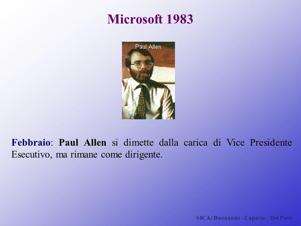 SICA: Buonanno - Capasso - Del Prete Microsoft 1983 Febbraio: Paul Allen si dimette dalla carica di Vice Presidente Esecutivo, ma rimane come dirigent
