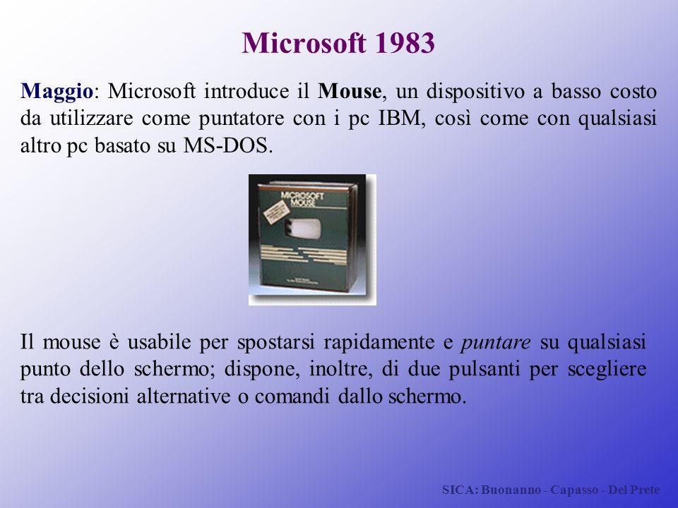 SICA: Buonanno - Capasso - Del Prete Microsoft 1983 Maggio: Microsoft introduce il Mouse, un dispositivo a basso costo da utilizzare come puntatore co