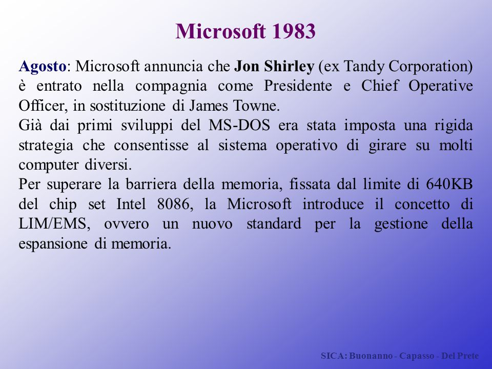 SICA: Buonanno - Capasso - Del Prete Microsoft 1983 Agosto: Microsoft annuncia che Jon Shirley (ex Tandy Corporation) è entrato nella compagnia come P