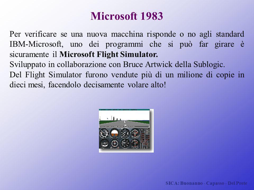 SICA: Buonanno - Capasso - Del Prete Microsoft 1983 Per verificare se una nuova macchina risponde o no agli standard IBM-Microsoft, uno dei programmi