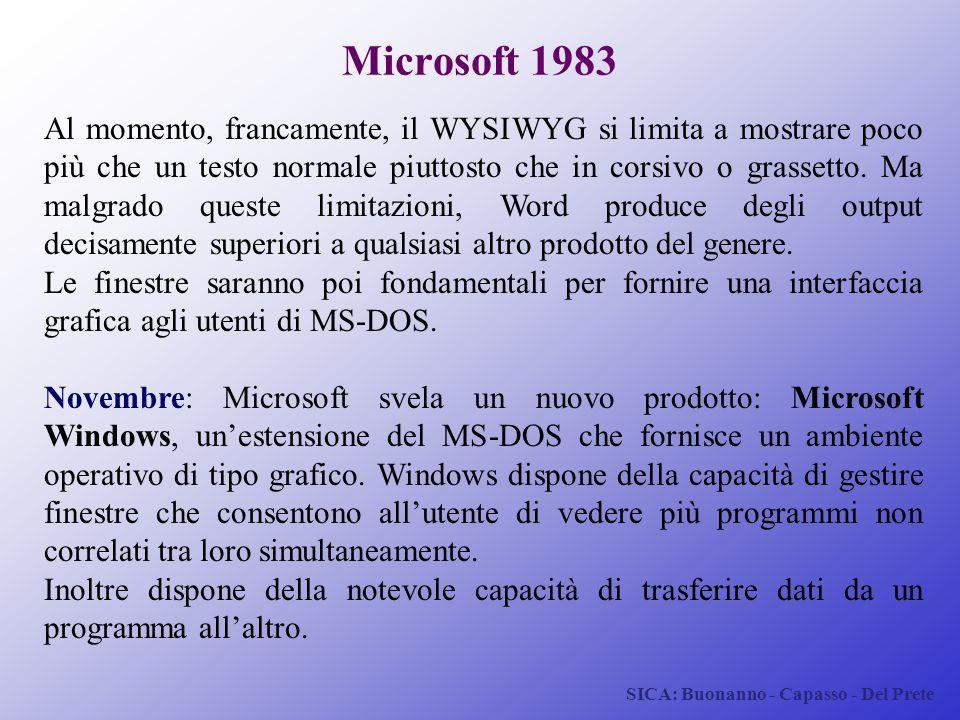 SICA: Buonanno - Capasso - Del Prete Microsoft 1983 Al momento, francamente, il WYSIWYG si limita a mostrare poco più che un testo normale piuttosto c
