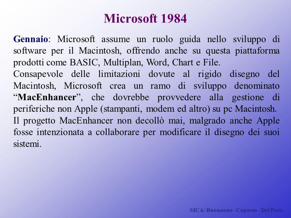 SICA: Buonanno - Capasso - Del Prete Microsoft 1984 Gennaio: Microsoft assume un ruolo guida nello sviluppo di software per il Macintosh, offrendo anc