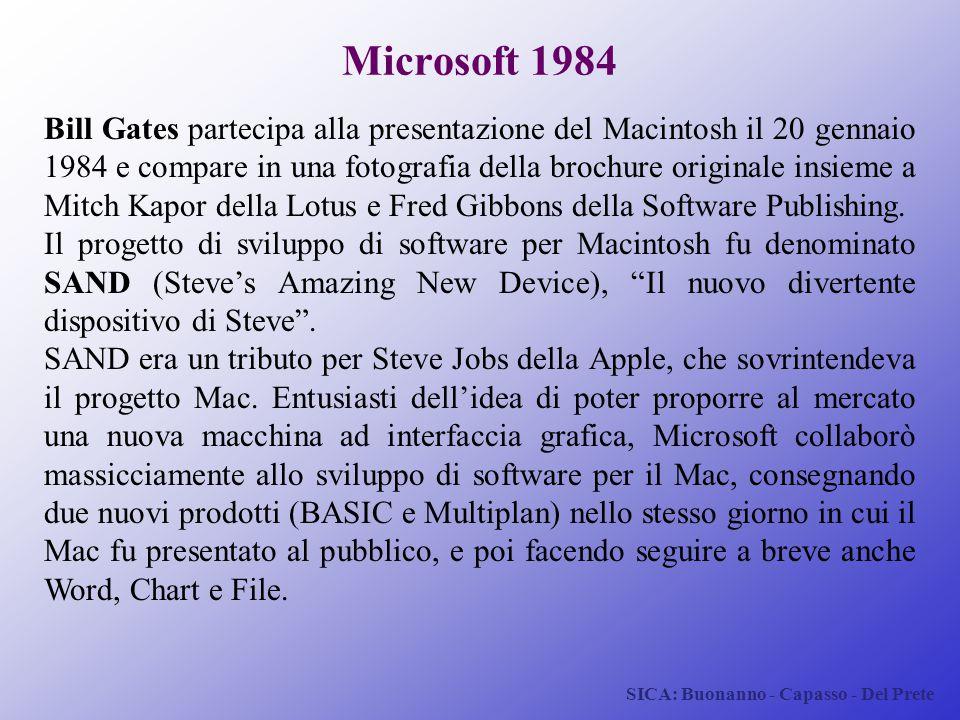 SICA: Buonanno - Capasso - Del Prete Microsoft 1984 Bill Gates partecipa alla presentazione del Macintosh il 20 gennaio 1984 e compare in una fotograf