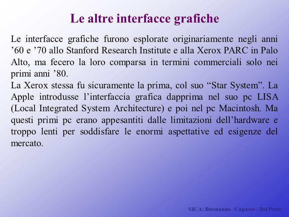 SICA: Buonanno - Capasso - Del Prete Le altre interfacce grafiche Le interfacce grafiche furono esplorate originariamente negli anni '60 e '70 allo St