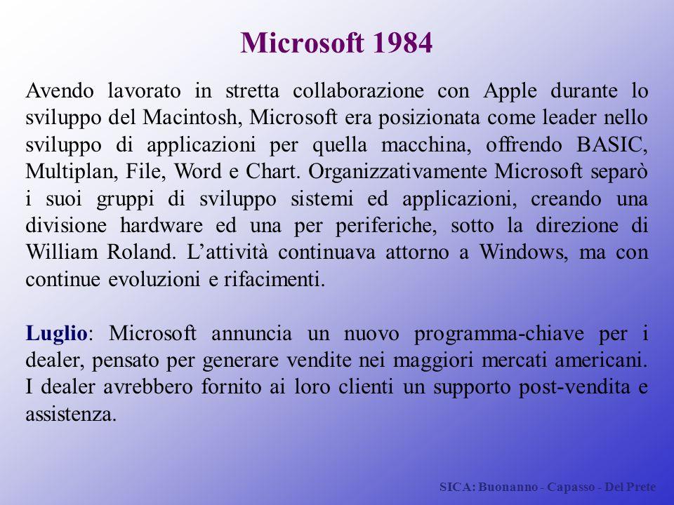 SICA: Buonanno - Capasso - Del Prete Microsoft 1984 Avendo lavorato in stretta collaborazione con Apple durante lo sviluppo del Macintosh, Microsoft e