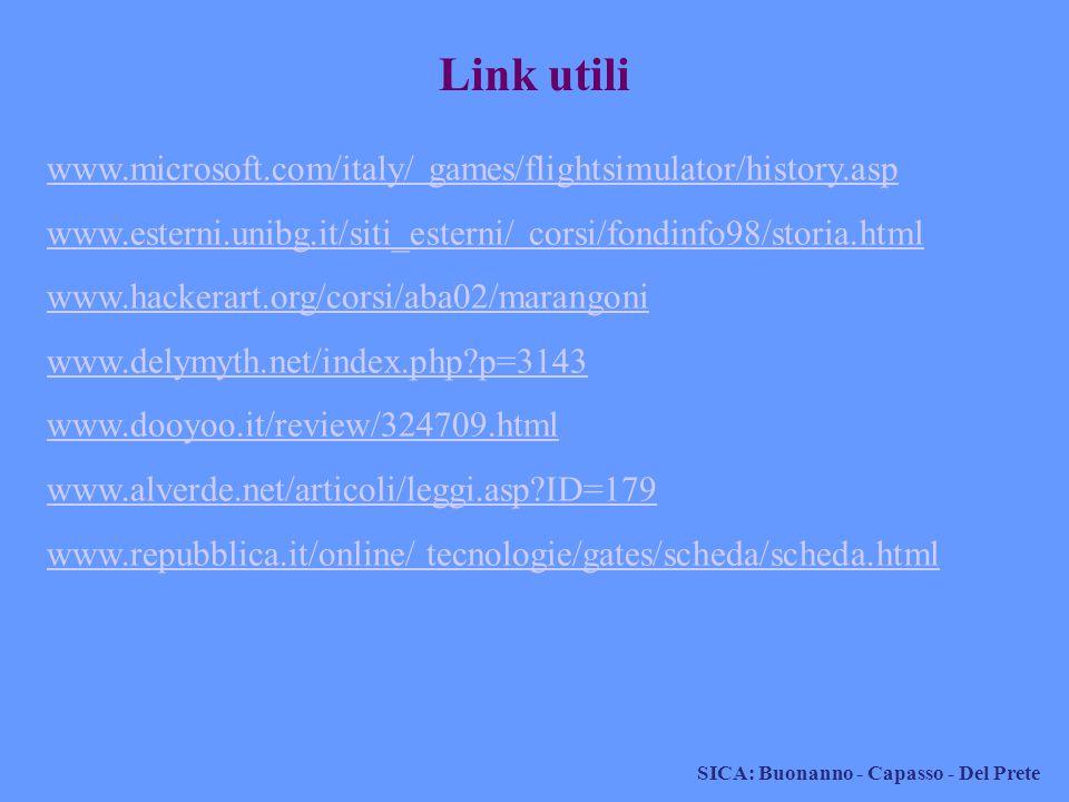 SICA: Buonanno - Capasso - Del Prete www.microsoft.com/italy/ games/flightsimulator/history.asp www.esterni.unibg.it/siti_esterni/ corsi/fondinfo98/st