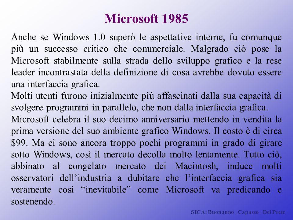 SICA: Buonanno - Capasso - Del Prete Microsoft 1985 Anche se Windows 1.0 superò le aspettative interne, fu comunque più un successo critico che commer