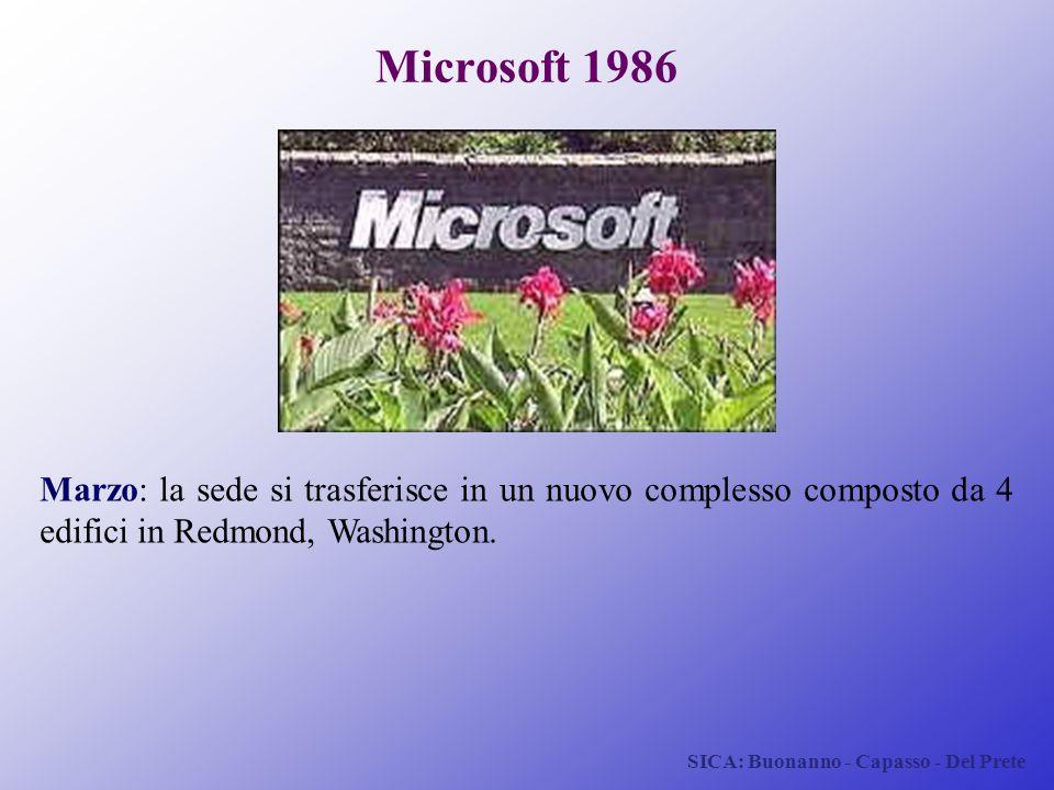 SICA: Buonanno - Capasso - Del Prete Microsoft 1986 Marzo: la sede si trasferisce in un nuovo complesso composto da 4 edifici in Redmond, Washington.