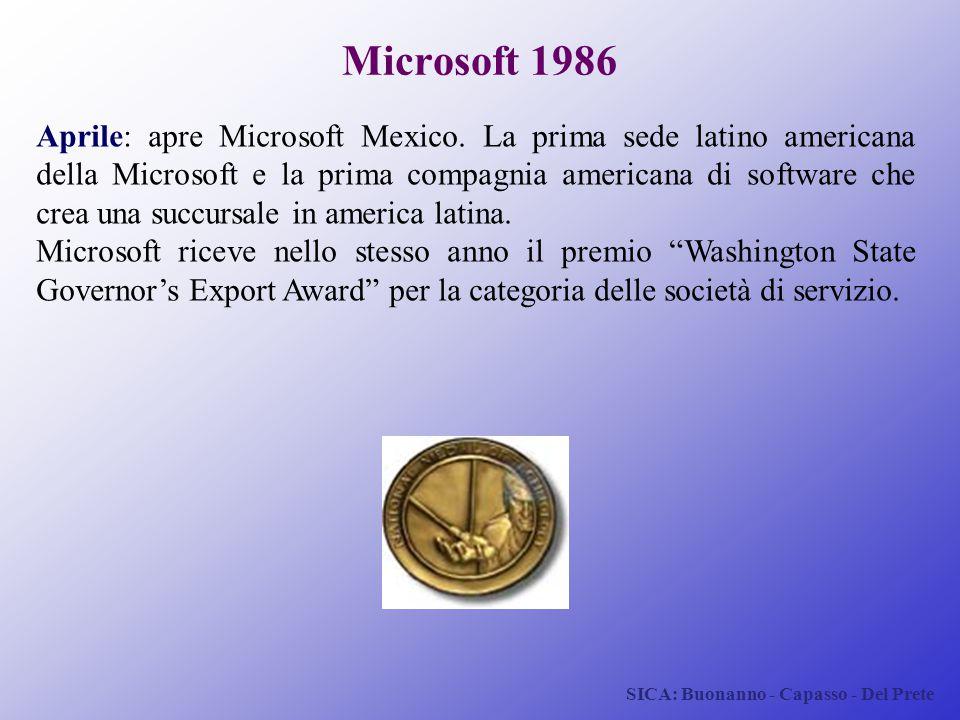 SICA: Buonanno - Capasso - Del Prete Microsoft 1986 Aprile: apre Microsoft Mexico. La prima sede latino americana della Microsoft e la prima compagnia