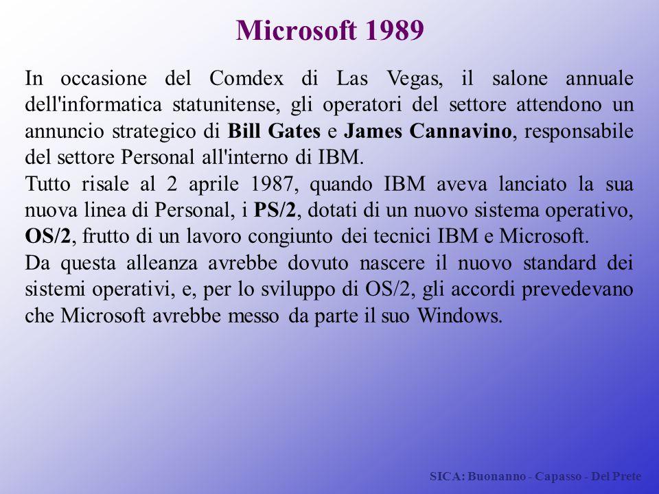 SICA: Buonanno - Capasso - Del Prete Microsoft 1989 In occasione del Comdex di Las Vegas, il salone annuale dell'informatica statunitense, gli operato