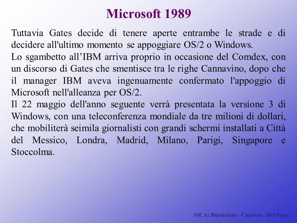 SICA: Buonanno - Capasso - Del Prete Microsoft 1989 Tuttavia Gates decide di tenere aperte entrambe le strade e di decidere all'ultimo momento se appo