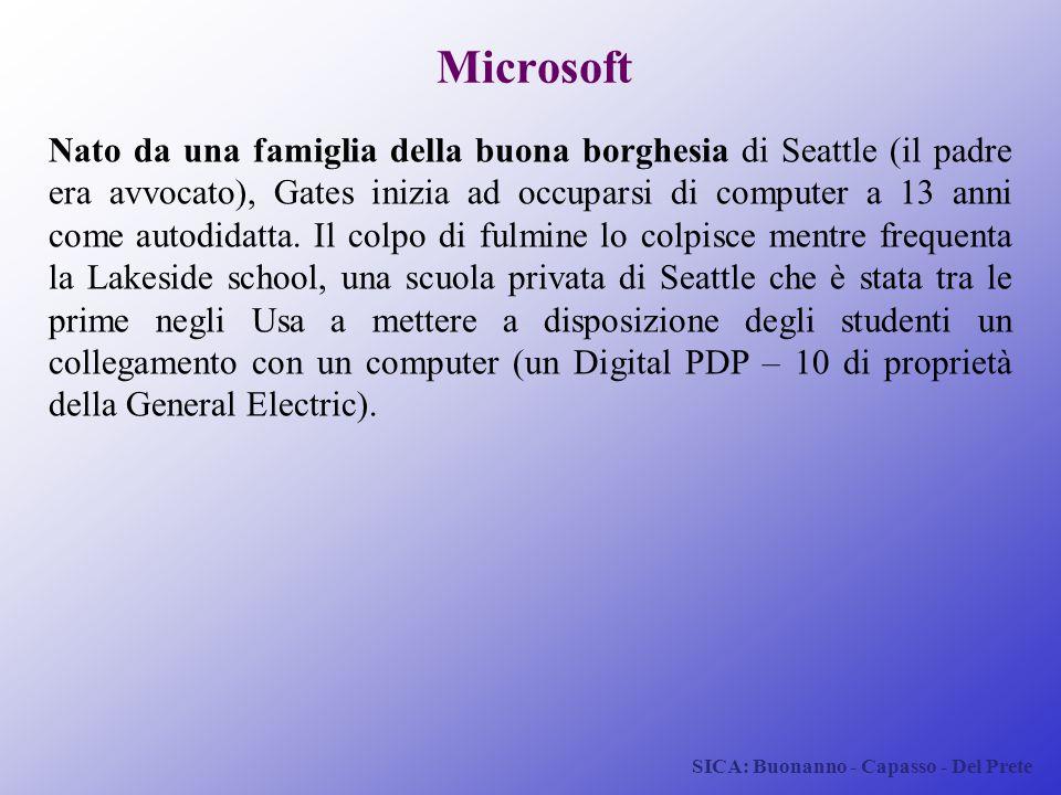 SICA: Buonanno - Capasso - Del Prete Microsoft Nato da una famiglia della buona borghesia di Seattle (il padre era avvocato), Gates inizia ad occupars