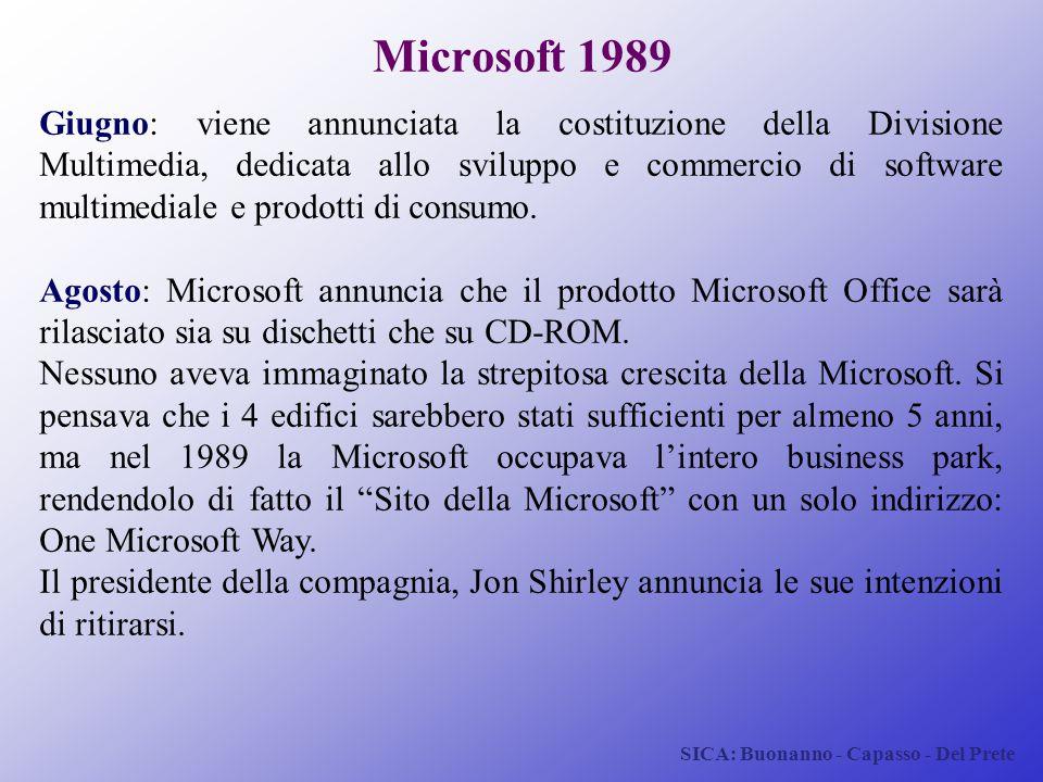 SICA: Buonanno - Capasso - Del Prete Microsoft 1989 Giugno: viene annunciata la costituzione della Divisione Multimedia, dedicata allo sviluppo e comm