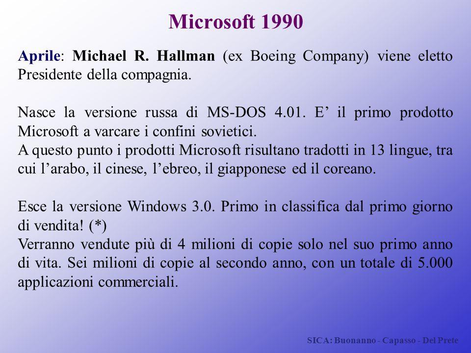 SICA: Buonanno - Capasso - Del Prete Microsoft 1990 Aprile: Michael R. Hallman (ex Boeing Company) viene eletto Presidente della compagnia. Nasce la v