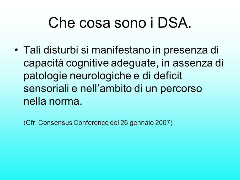Tali disturbi si manifestano in presenza di capacità cognitive adeguate, in assenza di patologie neurologiche e di deficit sensoriali e nell'ambito di