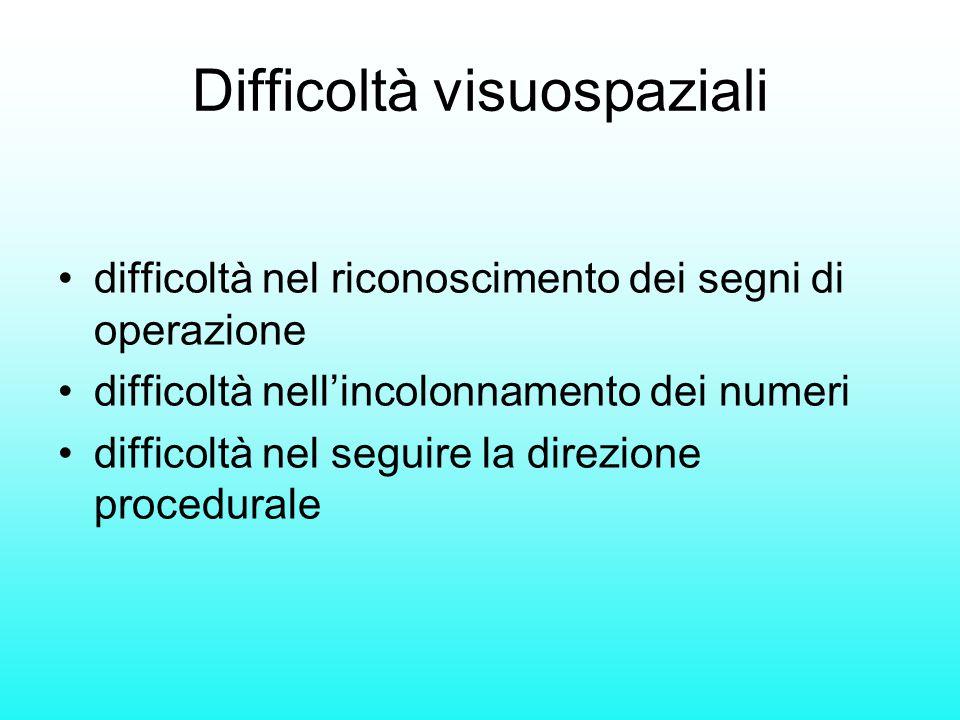 Difficoltà visuospaziali difficoltà nel riconoscimento dei segni di operazione difficoltà nell'incolonnamento dei numeri difficoltà nel seguire la dir
