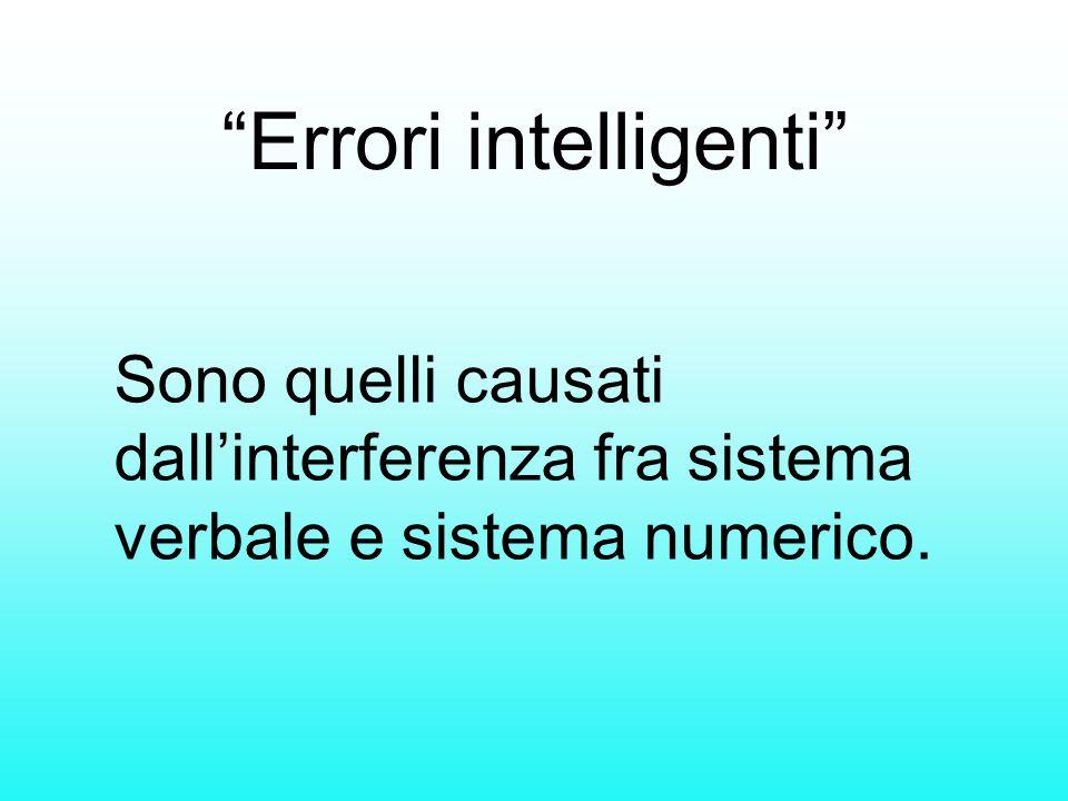 """""""Errori intelligenti"""" Sono quelli causati dall'interferenza fra sistema verbale e sistema numerico."""