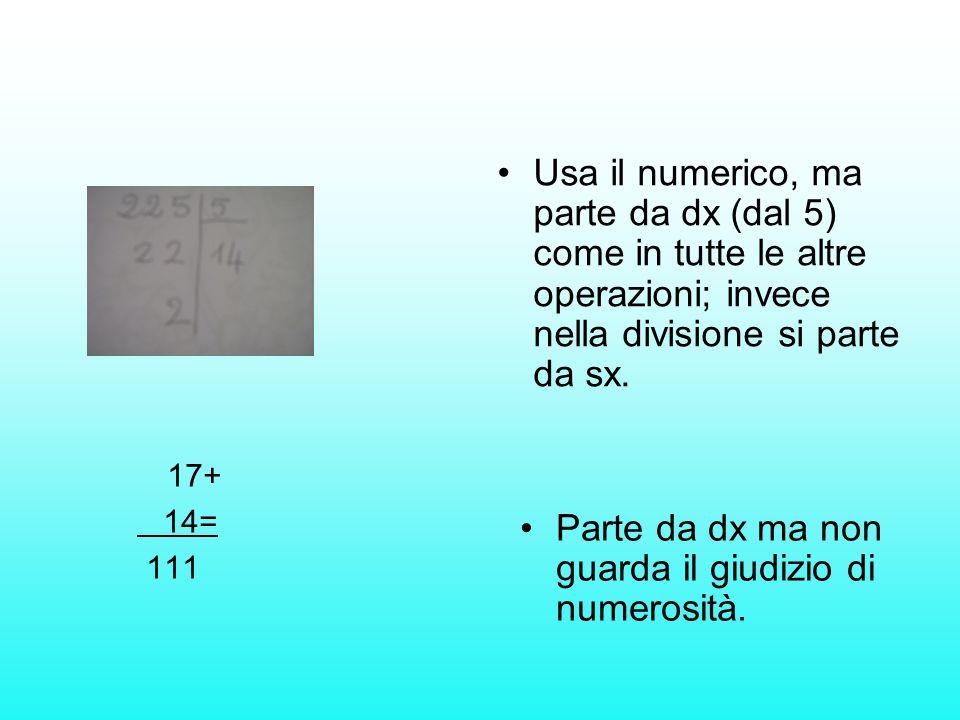 Usa il numerico, ma parte da dx (dal 5) come in tutte le altre operazioni; invece nella divisione si parte da sx. Parte da dx ma non guarda il giudizi